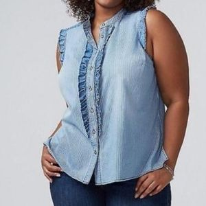Lane Bryant Sleevless  Chambray Shirt size 22le